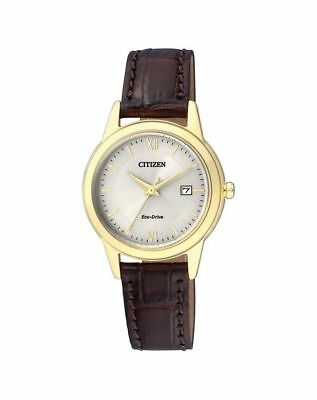 Citizen Eco Drive Gold Tone Steel Brown Leather Women's Watch FE1082-05A
