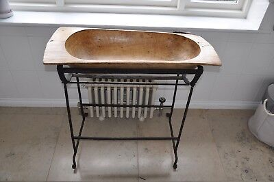 LargeAntique Wooden Bowl with Stand, Perfect For Towels