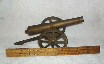 "Large Vintage Cast Bronze or Brass Cannon  10"" total length"