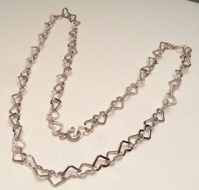 """BEAUTIFUL 16"""" MILOR ITALY HEART LINK CHAIN NECKLACE STERLING SILVER 925 (7.2g)"""