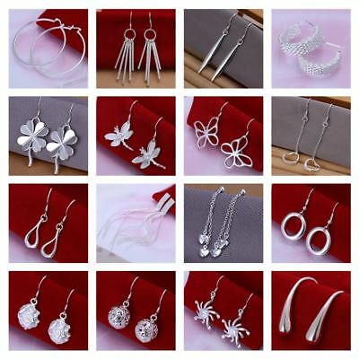 *Uk* 925 Silver Plt Drop Dangle Earrings Ladies Womens Hanging Hook Hooped Ear