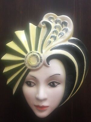 Dorothy Ann Crown Devon Hand Painted Wall Mask Signed by Artist