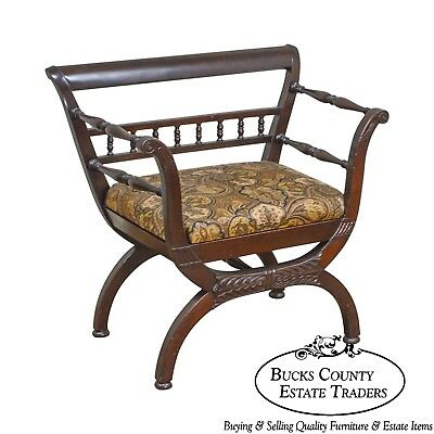 Vintage Carved Mahogany Wide Seat Curule Arm Chair