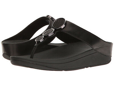 a07613ccc New In Box Womens Fitflop Halo Toe Thong I42-001 Black Leather Sandals