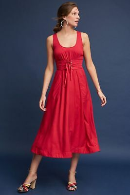 d7a38dc4539 Anthropologie Tracy Reese Corseted Corset Red Maxi Midi Dress 0 XS (runs  large)