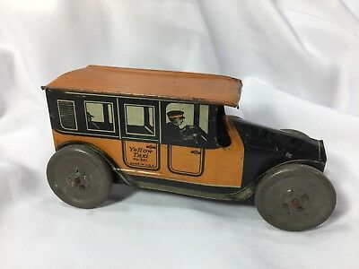 Antique Vintage Mohawk Toys Tin Litho Orange Yellow Taxi Cab Toy Car