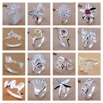 *uk* 925 Silver Plt Statement Ring P 1/2 Size Ladies Gift Thumb Toe Open Finger