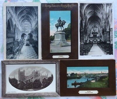 Exeter Cathedral, Canal, Buller Statue, Christmas, 5 cards, 99p start