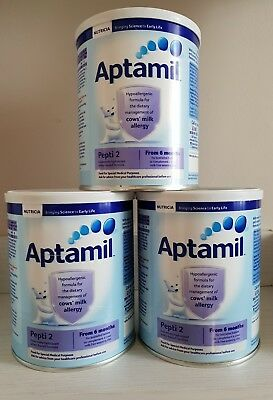 NEW APTAMIL PEPTI 2 From 6 monts 3x400g (3 TINS 400g) COWS MILK ALLERGY