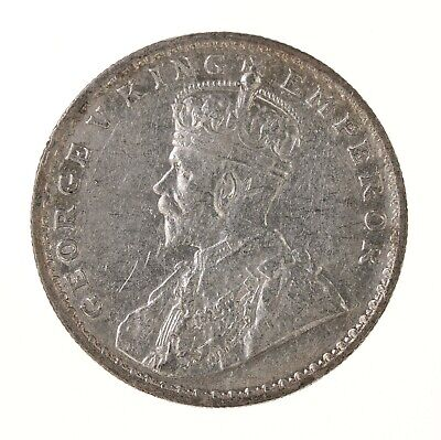 Raw 1918 India 1R British Indian One Rupee Silver Coin .