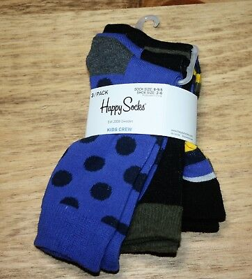 Happy Socks Kids Crew Socks 3 Pairs Fits Shoe Sizes 2-6 Combed Cotton Multi-Colo