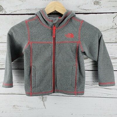 The North Face Toddler Boy Girl Knit Hoodie Jacket Full Zip Pocket Gray Red 3T