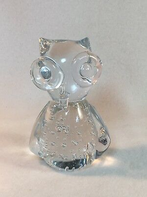 ACC American Cut Crystal Corp. Crystal Owl Paperweight