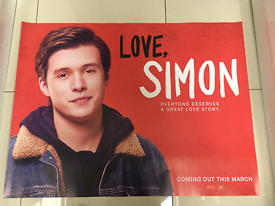 love simon 2018 quad movie poster d/s 30x40 in mint condition