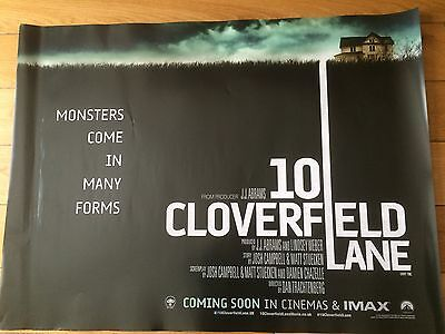 10 cloverfield lane uk quad movie poster d/s 30x40 in mint condition