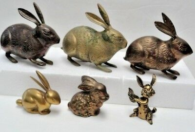 LOTof 6 VINTAGE BRASS RABBITS~HARES~LONG-EAR BUNNY ANIMAL FIGURES ~PAPERWEIGHTS?