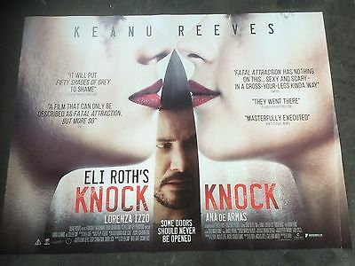 knock knock keanu reeves quad movie poster d/s 30x40 in mint condition