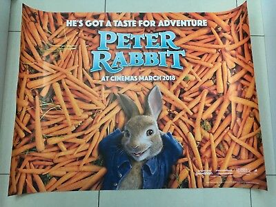 peter rabbit 2018 quad movie poster d/s 30x40 in mint condition