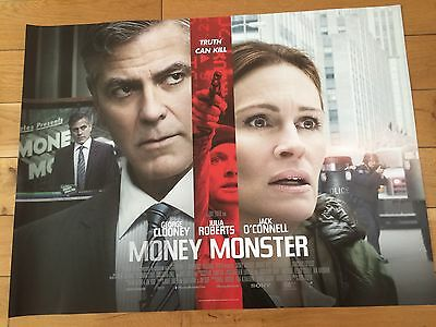 money monster double sided  uk quad movie poster  30x40 in mint condition