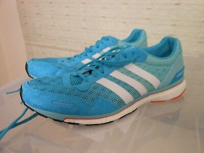 adidas adizero adios boost 3, UK 9 running shoes, blue / white / mint