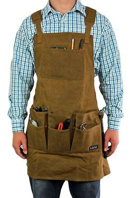 Smith Forge (Brown) Heavy Duty Waxed Canvas Work-Shop-Tool Apron 11Pockets-Ad...