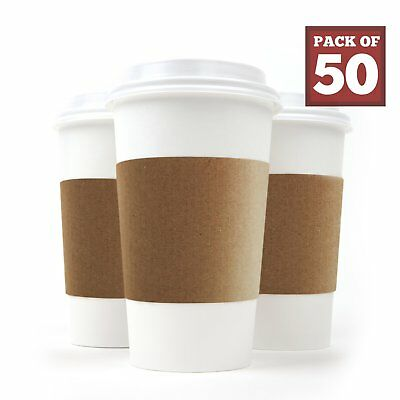 Disposable Paper Coffee Cups - Insulated - with Lids and Sleeves 50, 16 oz
