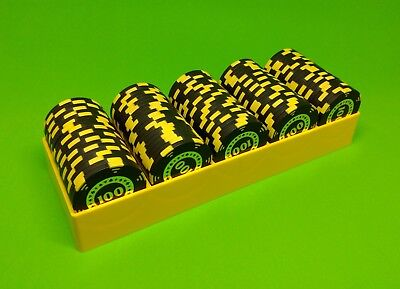10 Yellow Poker Chip Trays - Casino Chip Rack - Each Holds 100 Chips - Brand New