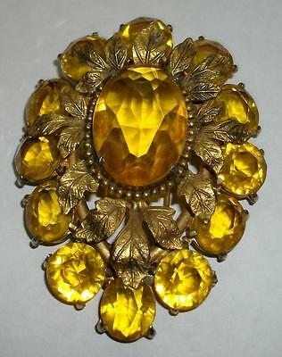 STUNNING Vintage ART DECO Huge JEWELED FUR CLIP Large Open Back Stones & Leaves