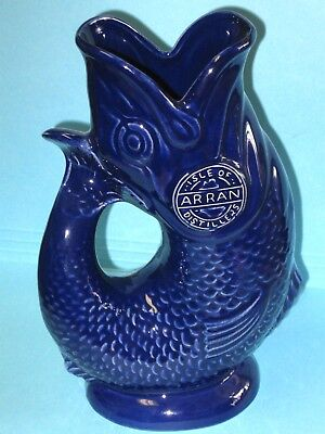 Vtg Old Arran Scotch Whisky Gurgling Cod Fish Water Pitcher - Glug Jug Dartmouth