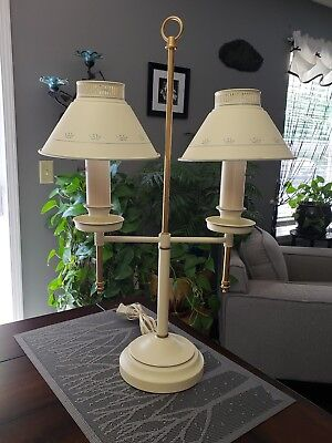 Vintage Double 2 Arm Socket Metal Tole Toleware Bouillotte Student Desk Lamp