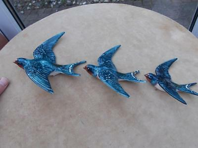 Set Of 3 Wall Hanging Beswick Swallows 757 1-2-3