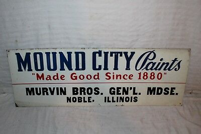 "Vintage 1950's Mound City Paint Gas Oil 28"" Embossed Metal Sign"