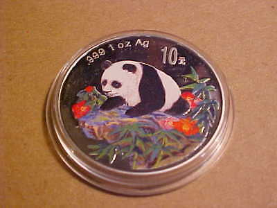 1oz 1999 COLORED PANDA WITH CERTIFICATE OF AUTHENTICITY