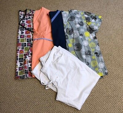 Womens Mixed Scrub Lot Of 5 Size XL By Greys Anantomy Just Love Etc..