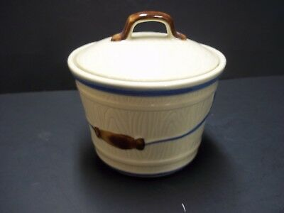 vintage shawnee pottery grease jar or butter dish w/lid bucket look