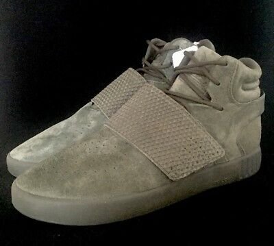 adidas Tubular Invader Strap Green Suede White Sole Men's Size 11.5 US BB5037