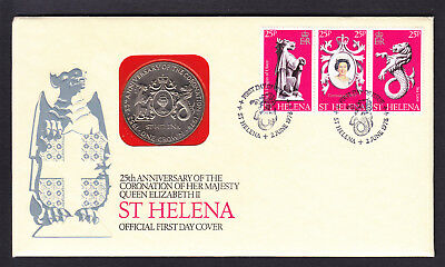 1978 St Helena QEII QE2 Coronation stamps on Unusual One Crown Coin Cover FDC