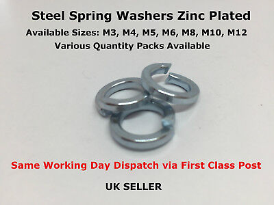 Spring Washers Steel Zinc Plated Ring Split Helical Helix Lock Washer Din 7980