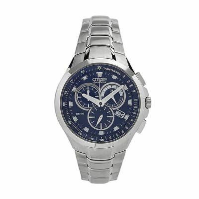 Citizen Eco-Drive AT0900-54L Men's Dress Blue Dial Chronograph Silver-Tone Watch