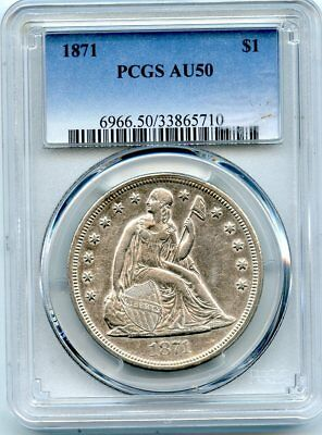 C10025- 1871 Seated Liberty Dollar Pcgs Au50