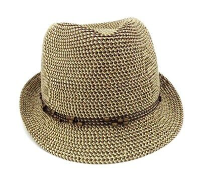 Nine West Fedora Hat Brown One Size UPF 50+ Packable Bead Detail Retail  32 b75ad0bc290
