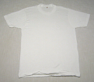 Vintage FRUIT OF THE LOOM Crew Neck T-Shirt (70s/80s) White NEW/NOS/DEADSTOCK! M