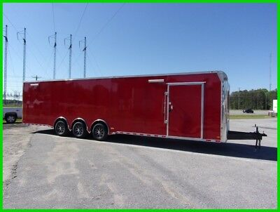 34 plus v nose enclosed Race Ready cargo motorcycle car hauler trailer Red