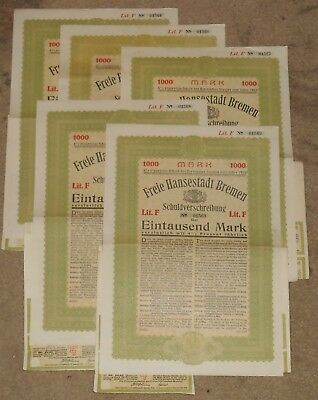 1923 Bremen City Bond Certificate and Coupons 1000 Marks