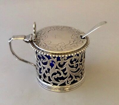 1842 London, John & Henry Lias Silver Lidded Mustard Pot w Salt Spoon 1805