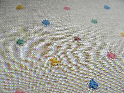 Vintage Linen Tablecloth w 6 Napkins Multicolored Embroidery w Blue Edge