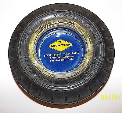 VINTAGE GOODYEAR TIRE ASHTRAY  With GLASS INSERT From California