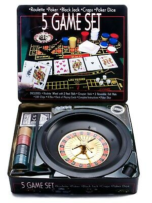5 IN 1 Casino Game Set Roulette Poker Black Jack Craps Poker Dice Party Game AU