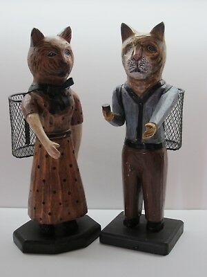 Folk Carved Wooden Cats