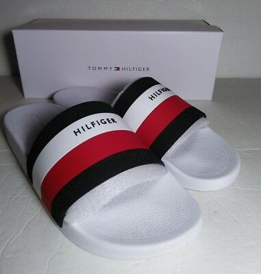 3823c496dbc Brand New Tommy Hilfiger Earthy Slides White navy red - Flip Flops Sandals  12